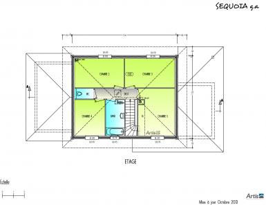 Plan étage modèle Sequoia | maison bois Artis